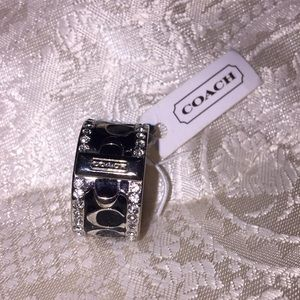 NWT Black and White Coach Ring Size 7